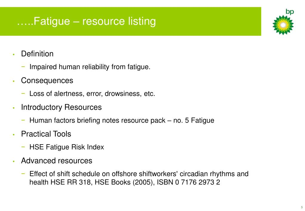…..Fatigue – resource listing