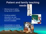 patient and family teaching needs
