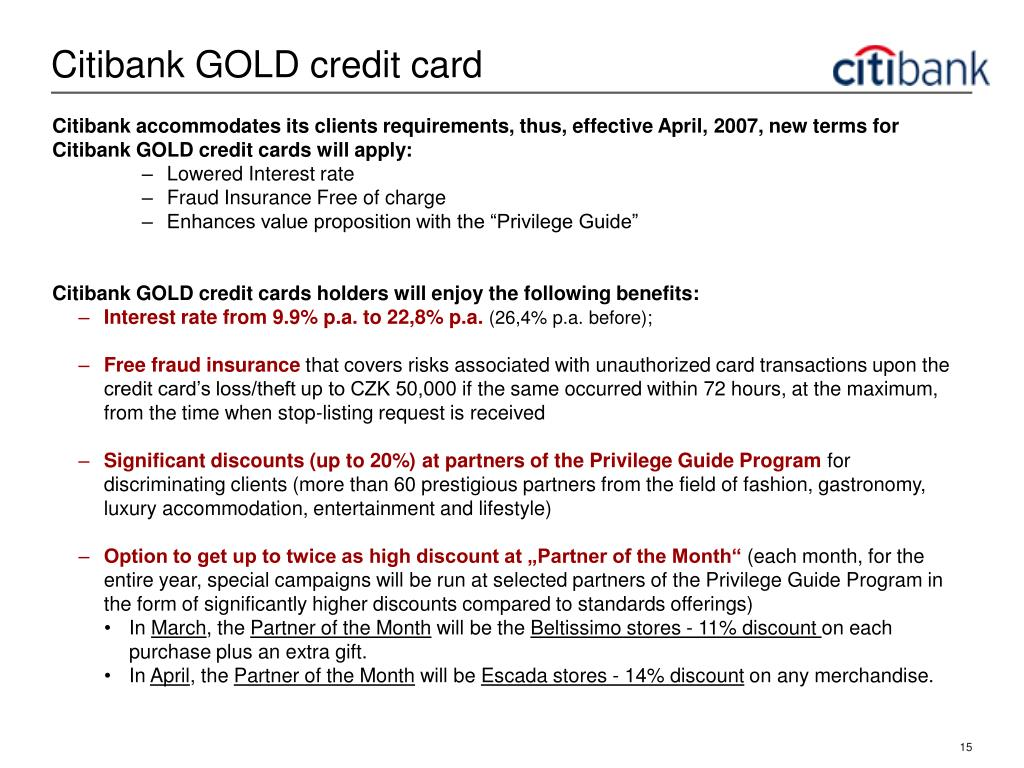 Citibank GOLD credit card