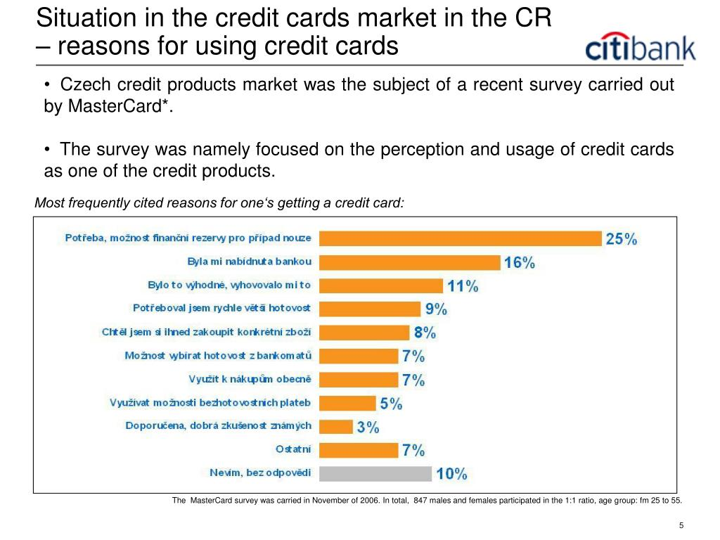 Situation in the credit cards market in the CR – reasons for using credit cards
