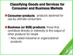 classifying goods and services for consumer and business markets