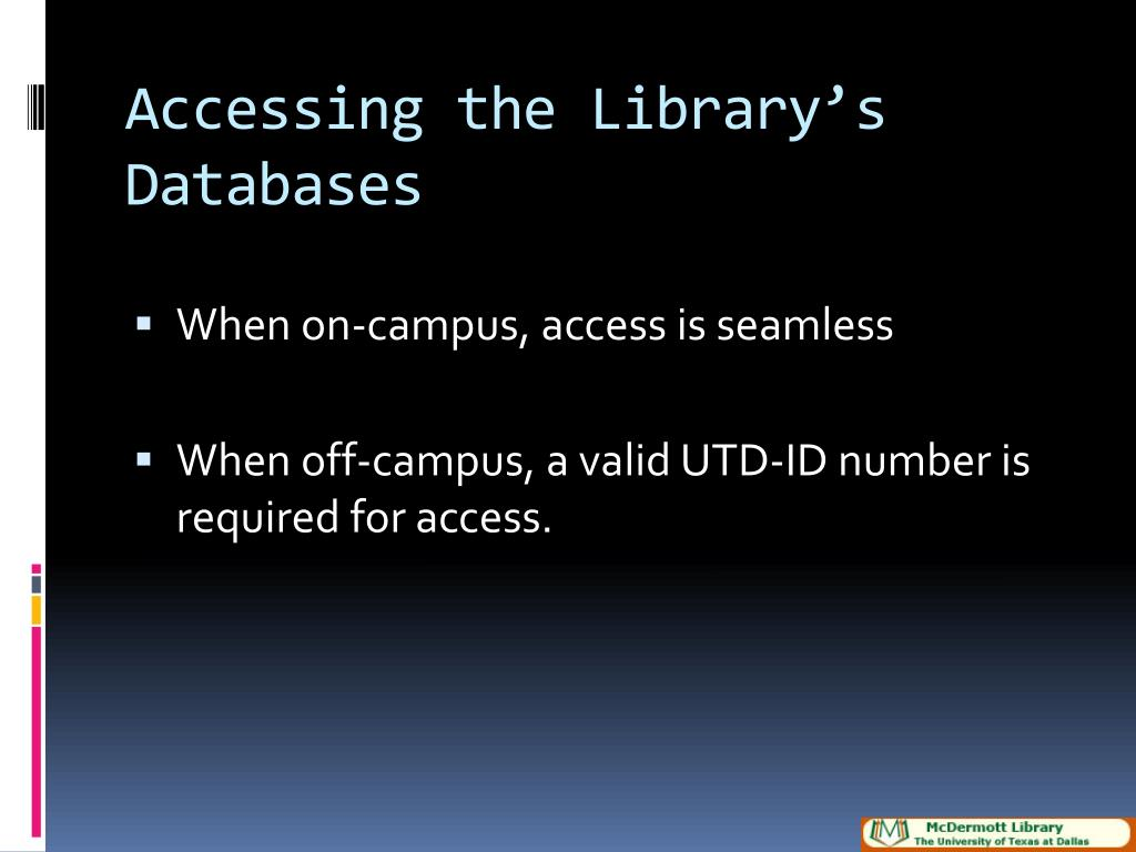 Accessing the Library's Databases