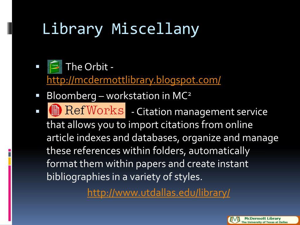 Library Miscellany