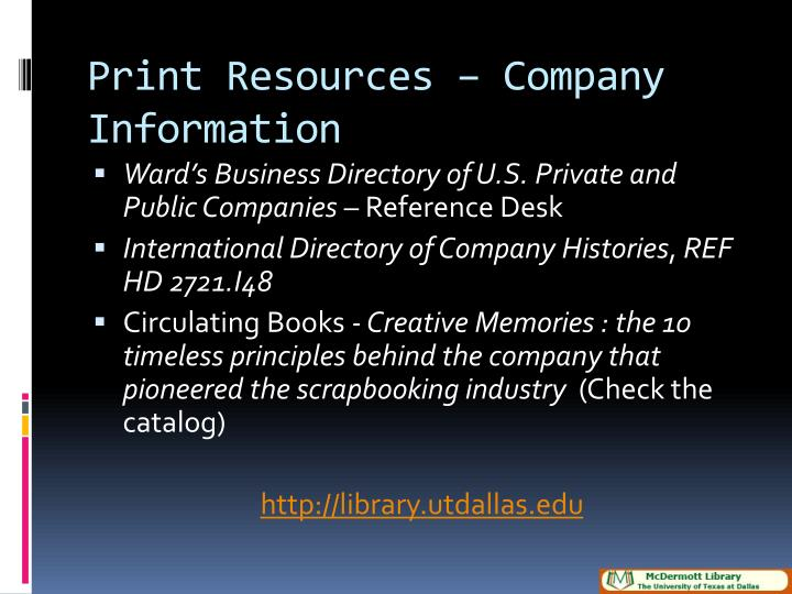 Print resources company information