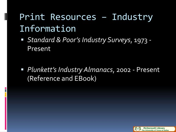 Print resources industry information