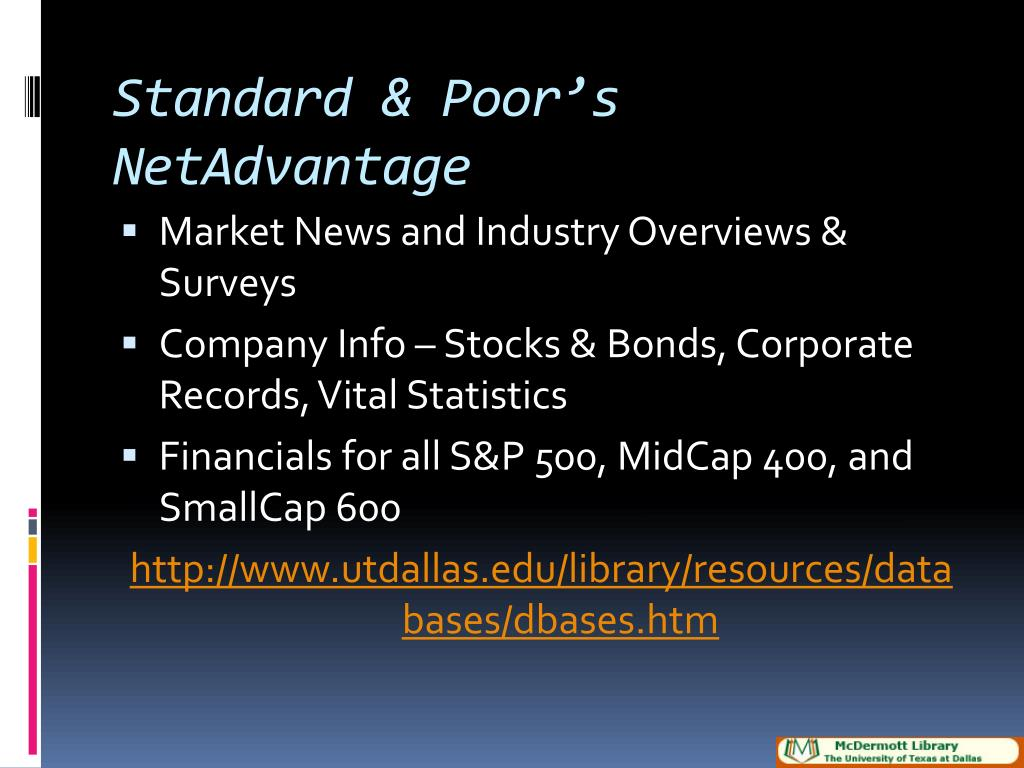 Standard & Poor's NetAdvantage