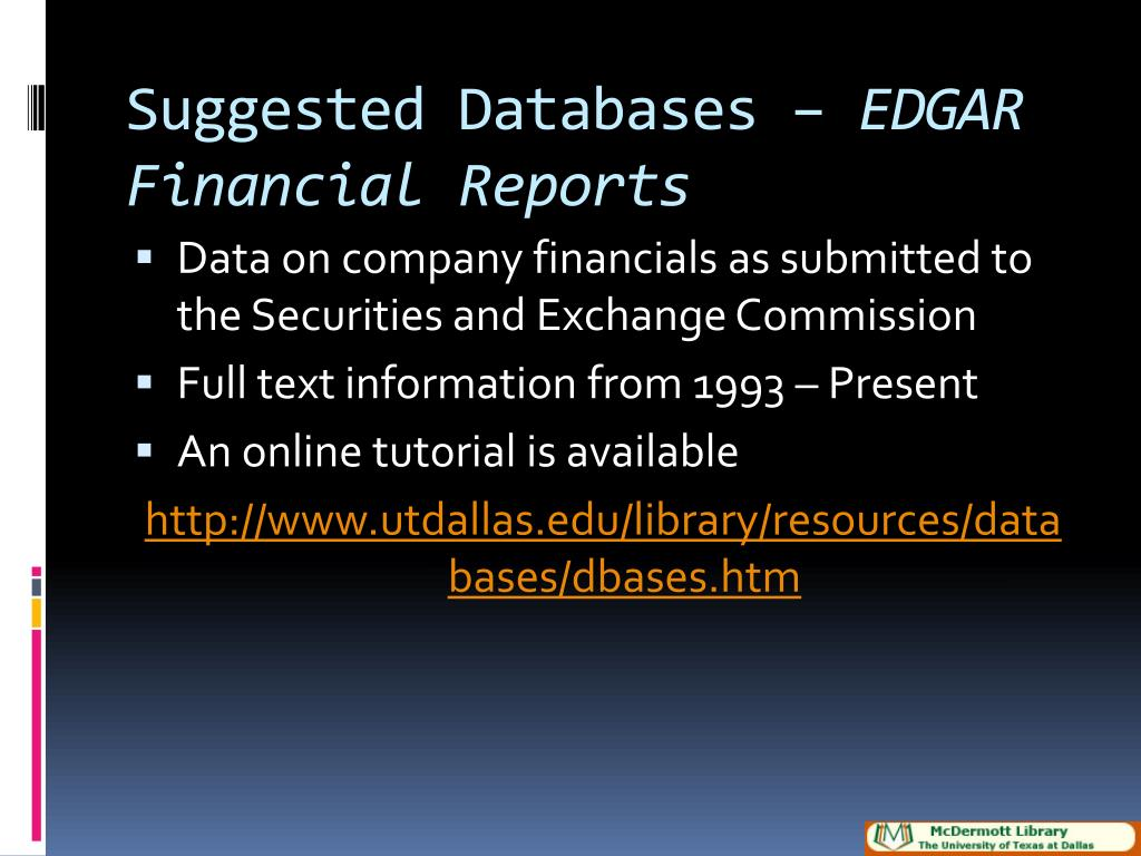 Suggested Databases –