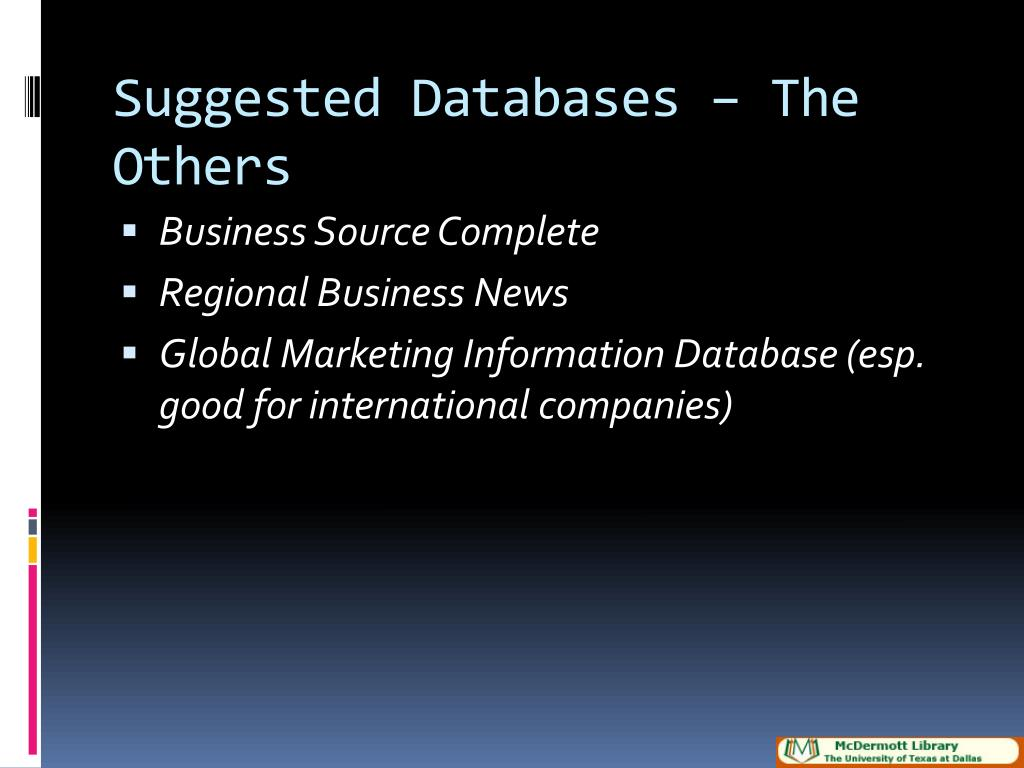 Suggested Databases – The Others