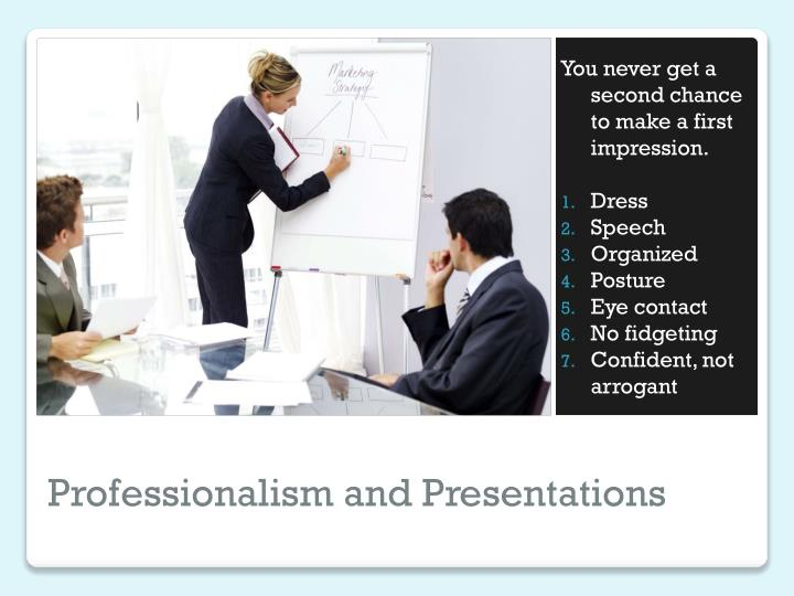 Professionalism and presentations