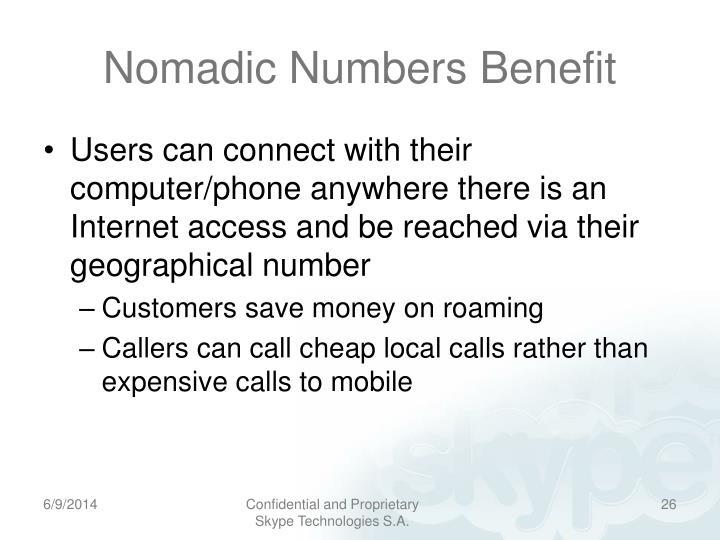 Nomadic Numbers Benefit