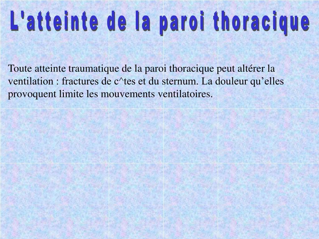 L'atteinte de la paroi thoracique