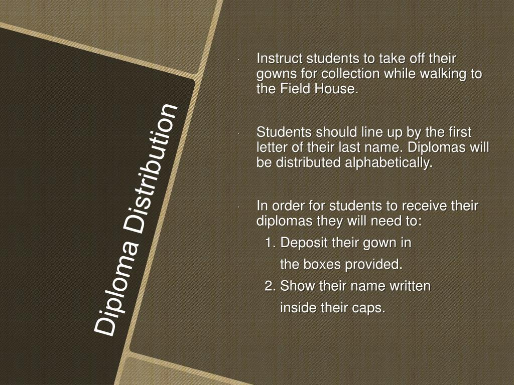 Instruct students to take off their gowns for collection while walking to the Field House.