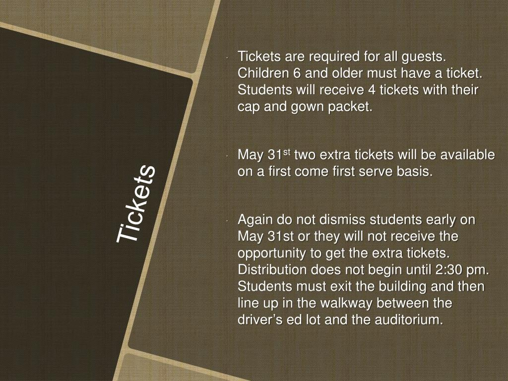 Tickets are required for all guests. Children 6