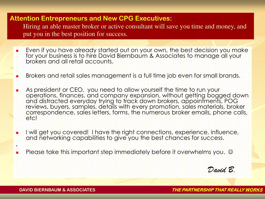 Attention Entrepreneurs and New CPG Executives: