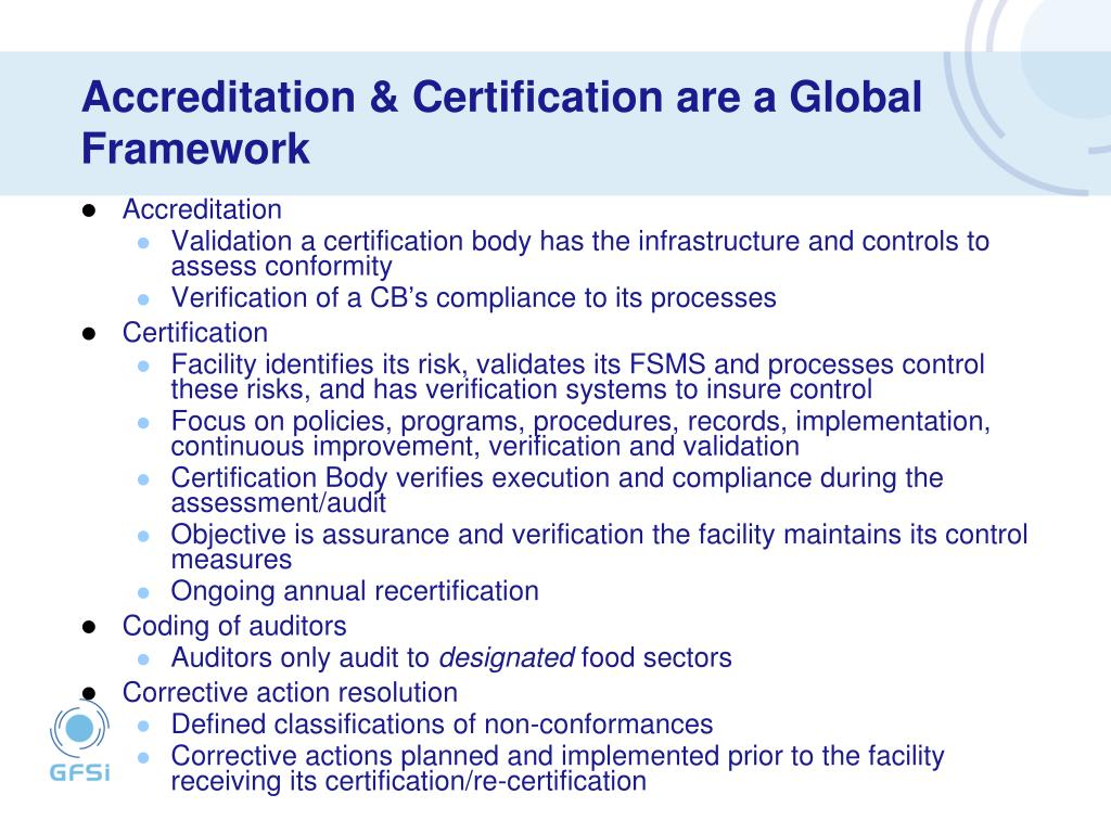 Accreditation & Certification are a Global Framework