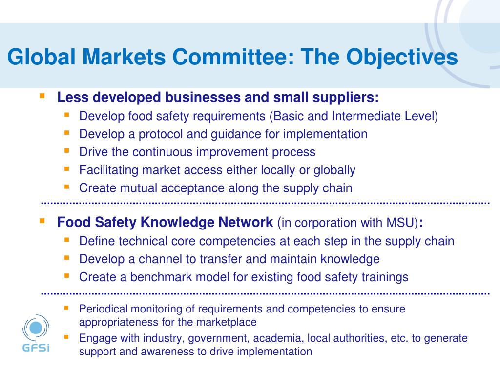 Global Markets Committee: The Objectives