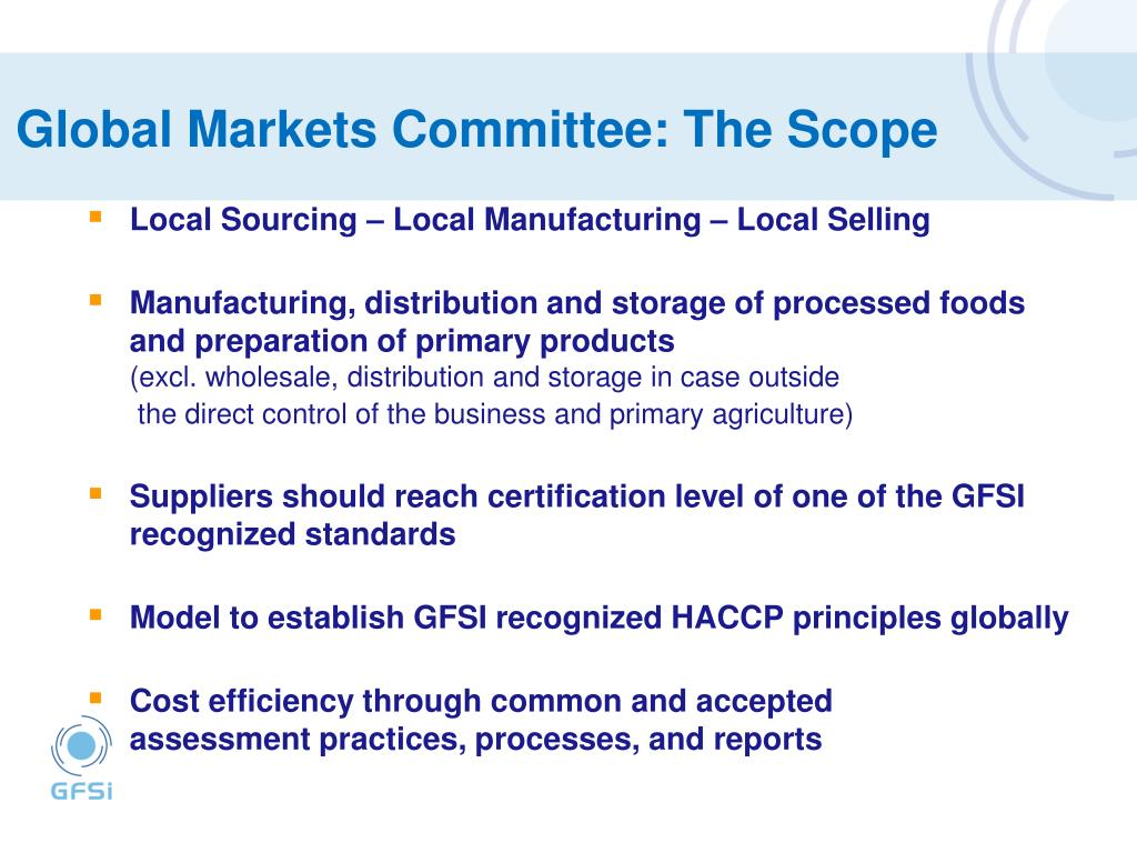 Global Markets Committee: The Scope