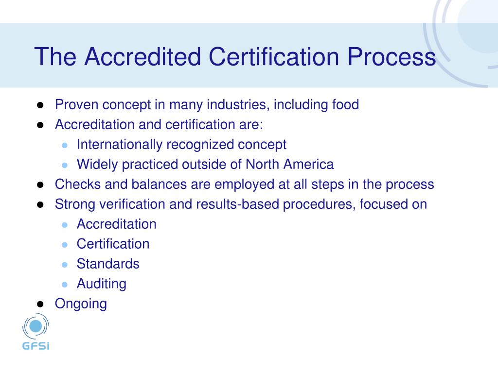 The Accredited Certification Process
