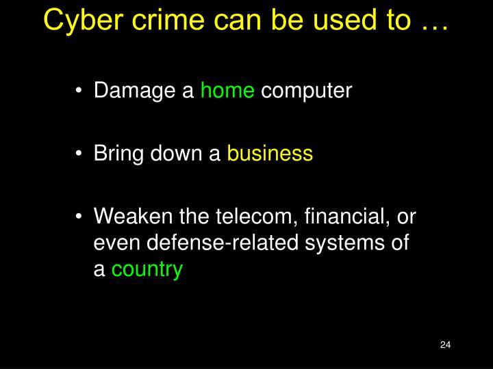 Cyber crime can be used to …