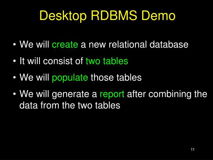 Desktop RDBMS Demo