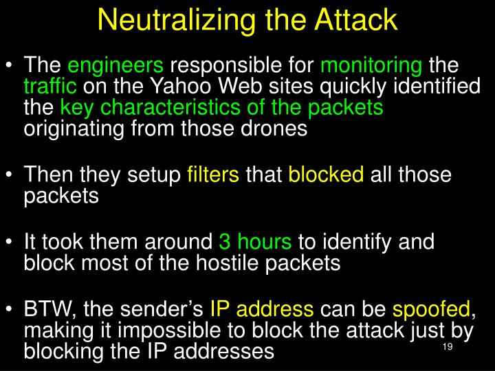 Neutralizing the Attack