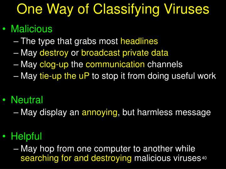 One Way of Classifying Viruses