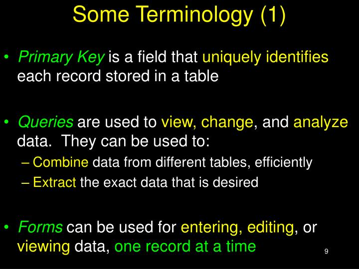 Some Terminology (1)