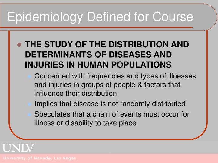 Epidemiology Defined for Course