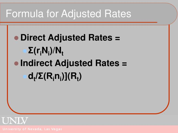 Formula for Adjusted Rates