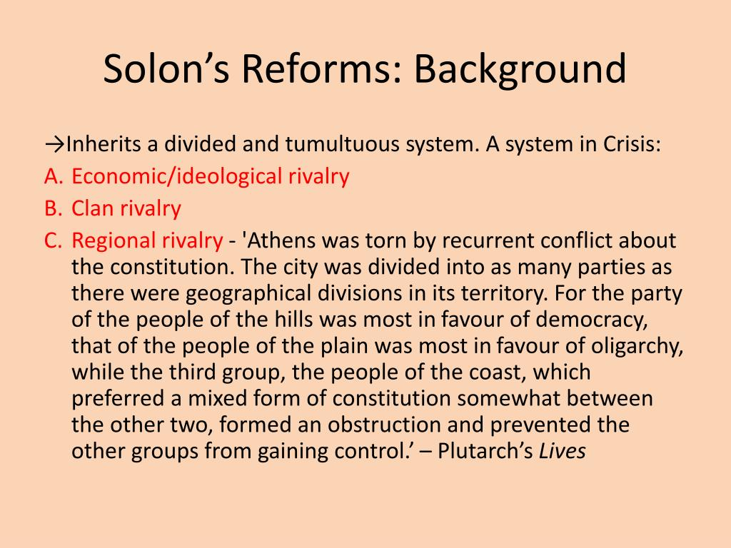 solon economic political reforms athens The rise of athens and the athenian democracy: from solon to despite solon's reforms, athens did see the that puts athens on the political, economic.