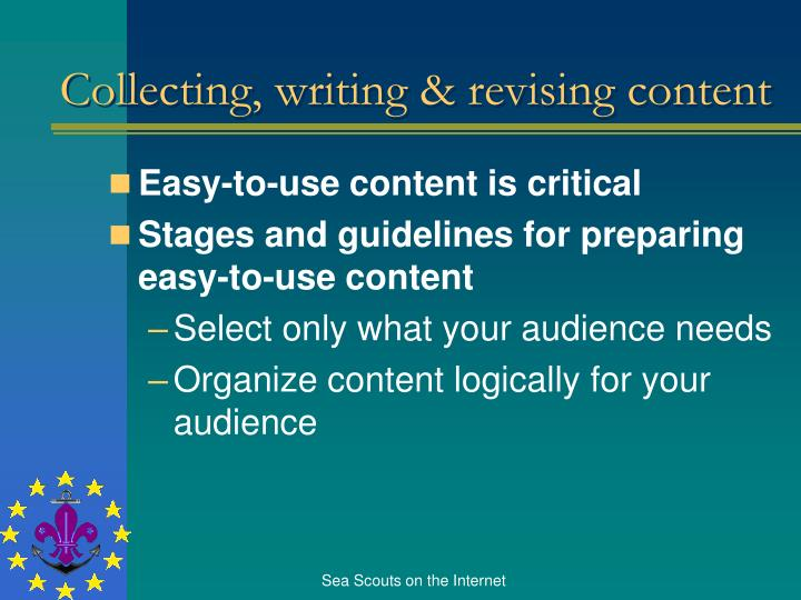 Collecting, writing & revising content