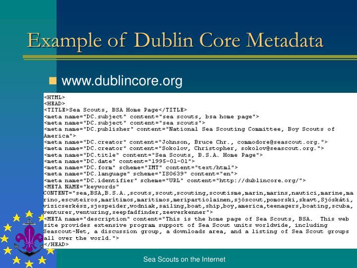 Example of Dublin Core Metadata