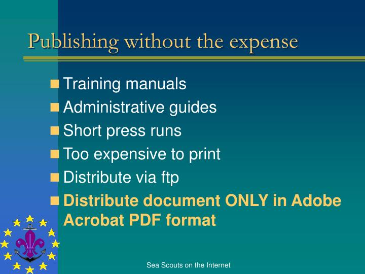 Publishing without the expense