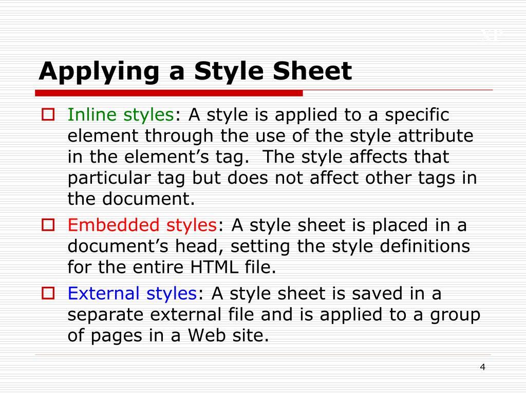 Applying a Style Sheet