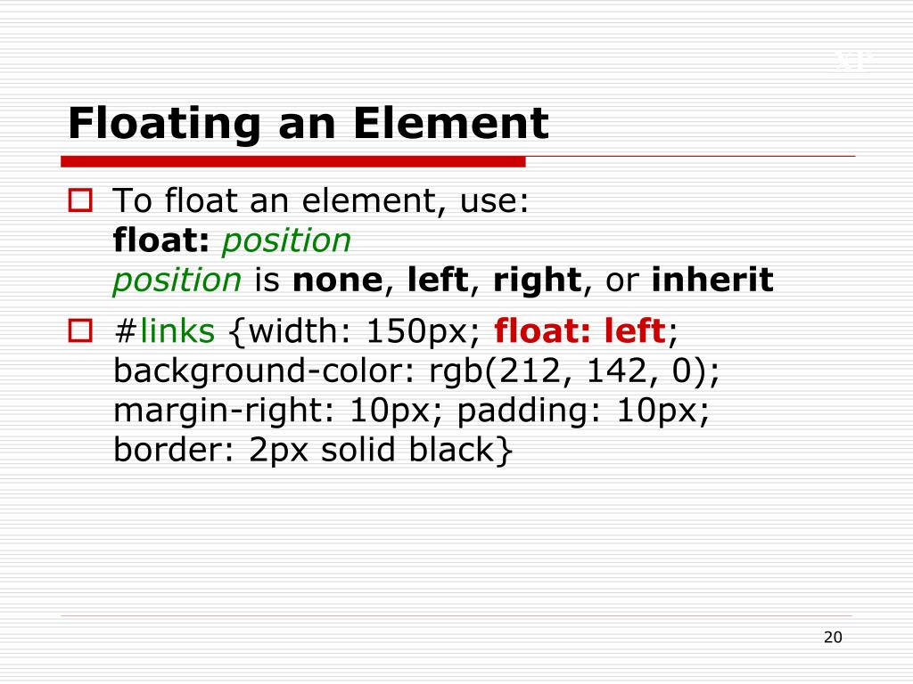 Floating an Element