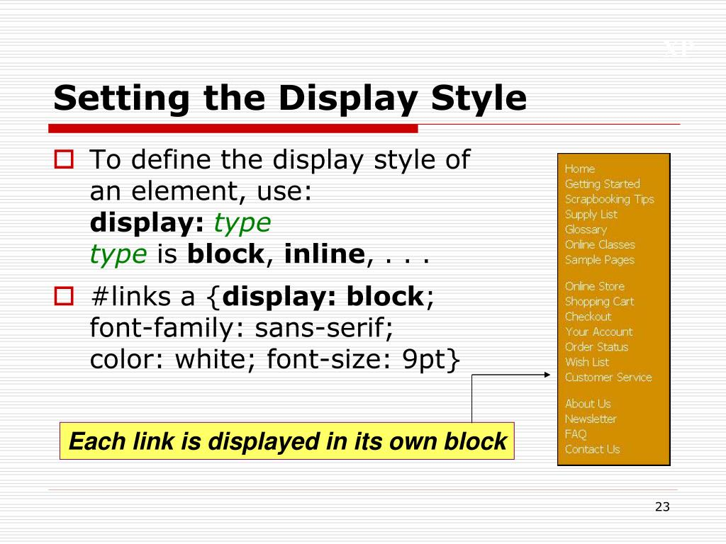 Setting the Display Style