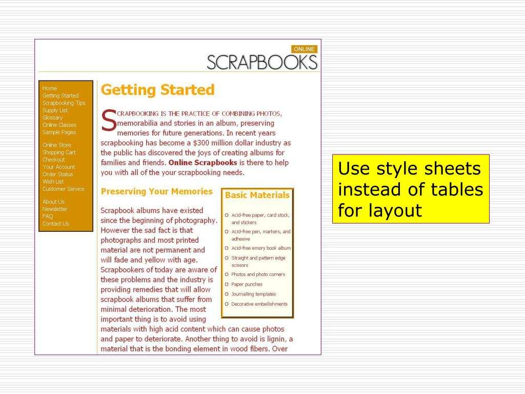 Use style sheets