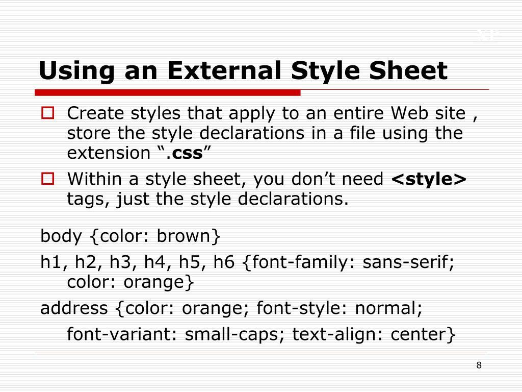 Using an External Style Sheet