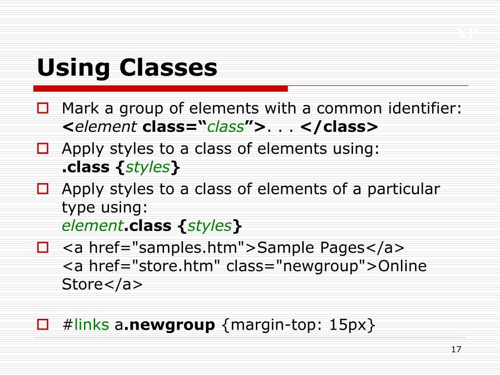 Using Classes