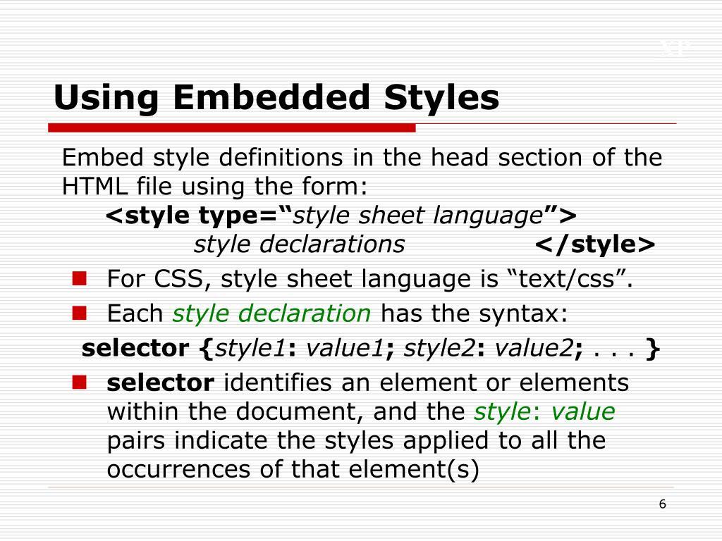 Using Embedded Styles