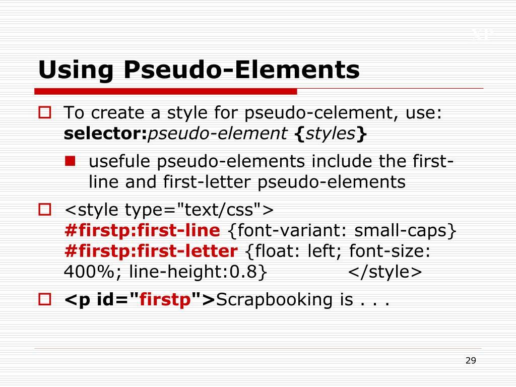 Using Pseudo-Elements