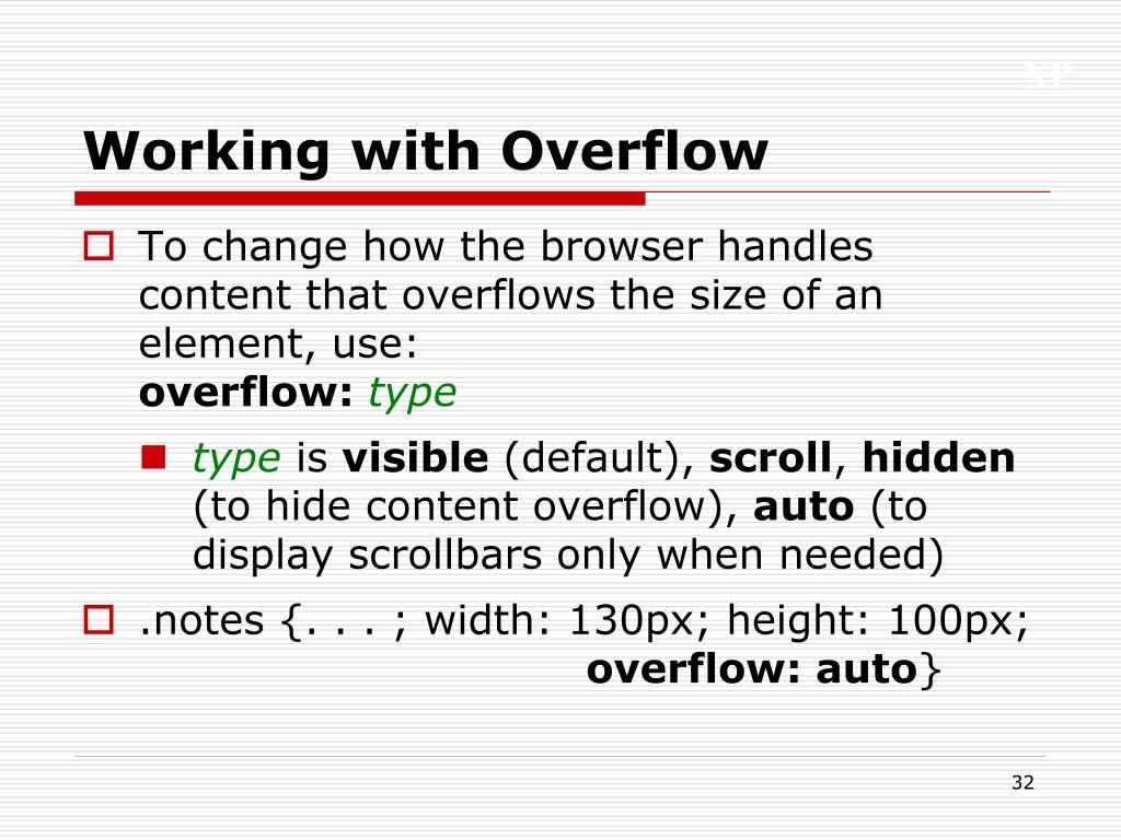 Working with Overflow