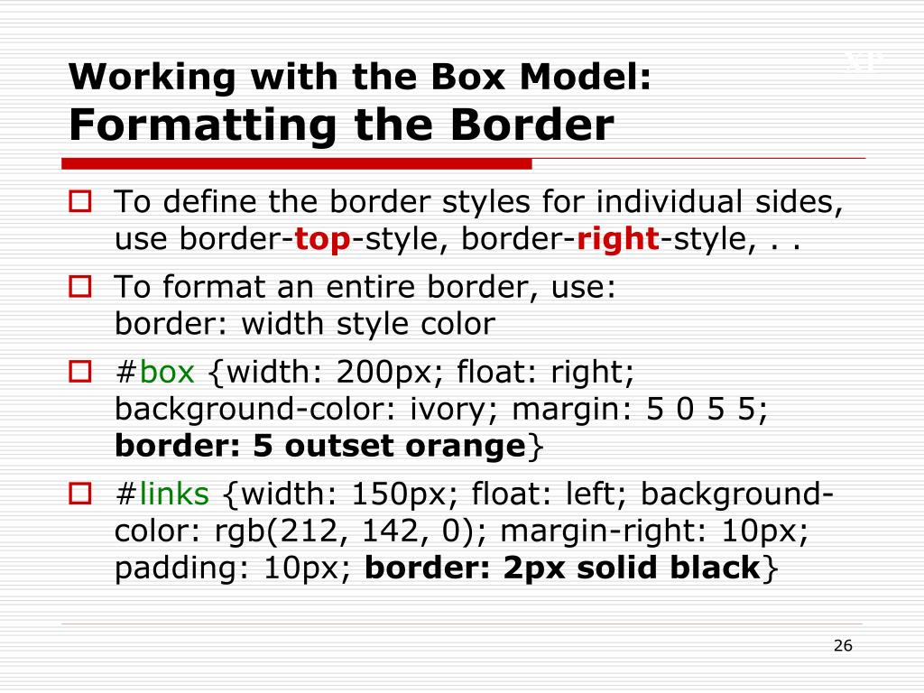 Working with the Box Model: