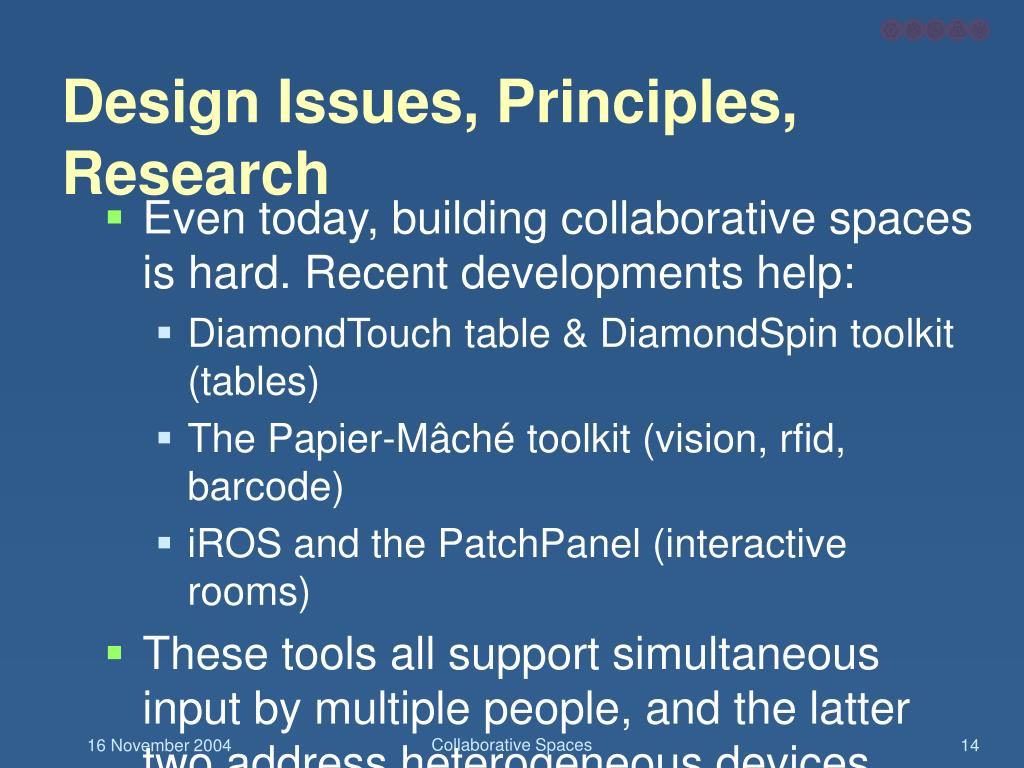 Design Issues, Principles, Research