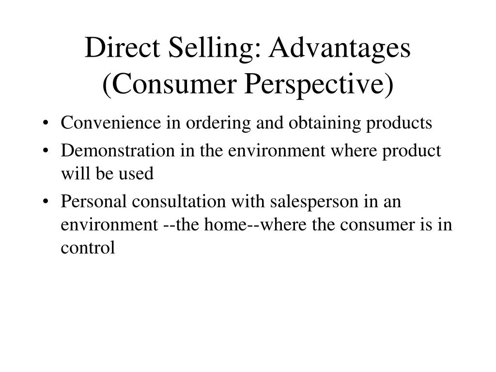 Direct Selling: Advantages