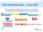gfsi breakthrough june 2007