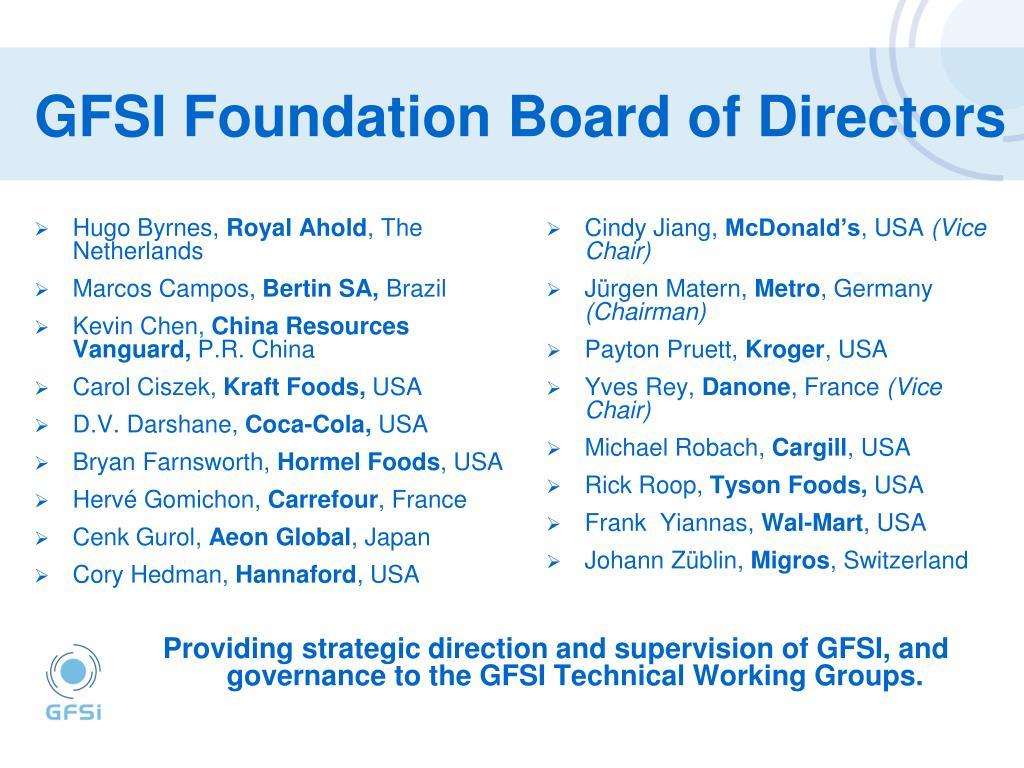 GFSI Foundation Board of Directors