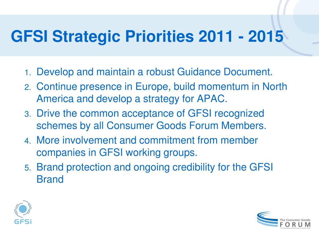 GFSI Strategic Priorities 2011 - 2015
