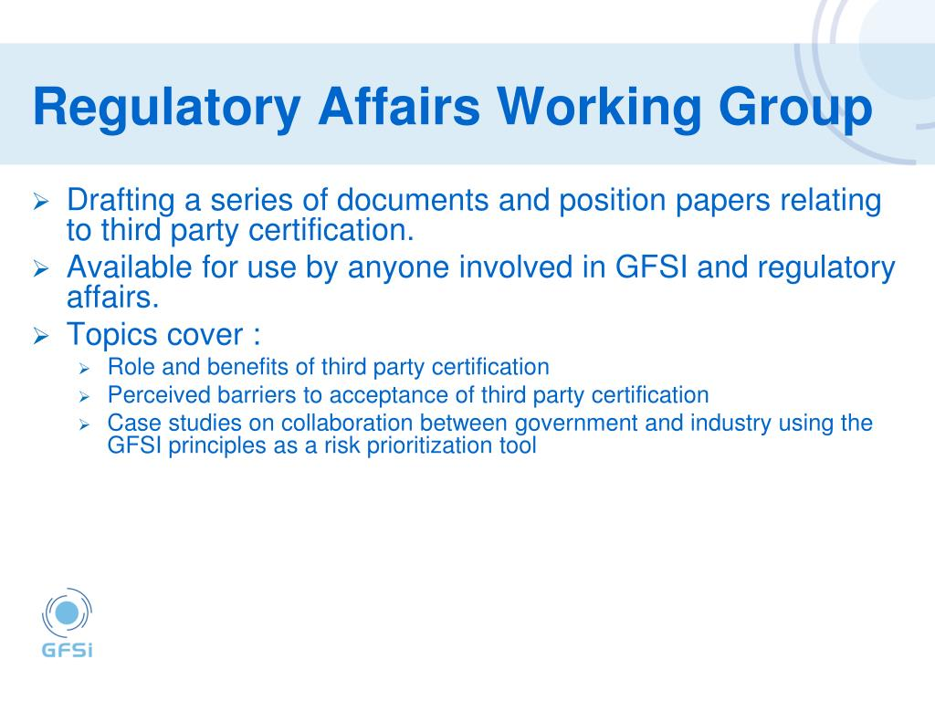 Regulatory Affairs Working Group
