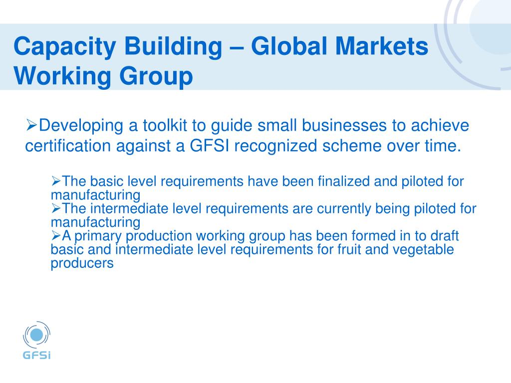 Capacity Building – Global Markets Working Group